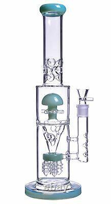 16 Inch Big Heavy Inline Dome Sprinkler Funnel MushroomPerc Bong Water PipeUSA