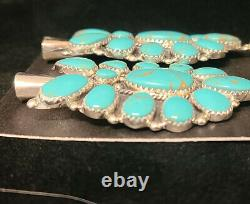 #201 Navajo Handmade Cluster Turquoise Sterling Silver Earrings Squash Blossom