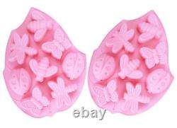 2Pack 8 Cavity Butterfly Bugs Shape Silicone Soap Mold for DIY Handmade Soap USA