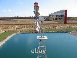 30 Ft Tall Hand Made in the USA Aluminum Garden Windmill, Wind Wheel