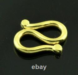 9999 24K Solid Yellow Gold S lock clasp handmade in USA 0.90 gram