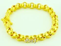 9999 24K Solid Yellow Gold handmade Rolo bracelet 8 Inches 34.50 grams USA