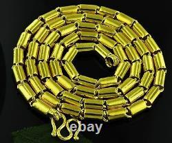 9999 24K Yellow Gold Round Barrel handmade chain necklace USA 75.00 grams