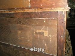 ANTIQUE Larkin Co Oak China Cabinet Curved Glass Backsplash withBeveled Mirror