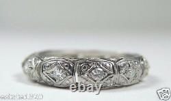Antique Art Deco Vintage Eternity Wedding Band Platinum Ring Size 5.25 EGL USA