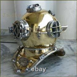 Antique Brass Scuba Deep Sea Diving Divers Helmet Mark V U. S Navy Vintage 18