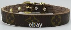 Authentic Repurposed Louis Vuitton Leather Dog Collar, Hand Made In The USA