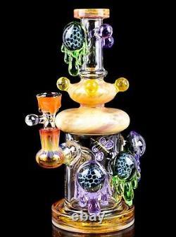 Bee's World 10 Showerhead Bong Tattoo Glass Water Pipe Hookah Bubbler USA