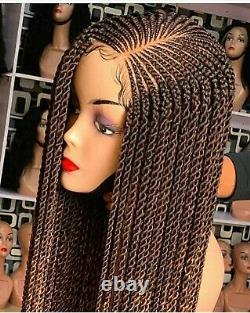 Braided Wig Custom Handmade Cornrows Feedin Closure Lacewig. 24' Location USA