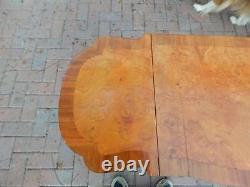 Burl Top Vanity Drop Leaf Table 43 1/4 Clawfeet, Mirror, Storage