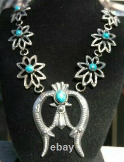 CAST Turquoise & Sterling Silver Squash Blossom NecklaceSigned EL Billah