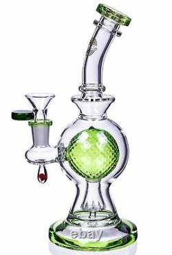 COOL 10 Tilted SPHERICAL BALL Perc BONG Green Glass Water Pipe UNIQUE USA