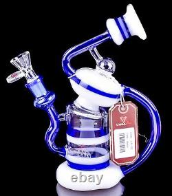 Chill Glass 2-Arm RECYCLER Inline BONG Blue Unique HELIX Hookah Water Pipe USA