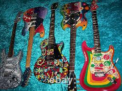 Custom Hand Painted Gibson Les Paul guitar vintage design made in USA American
