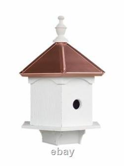DOUBLE BLUEBIRD HOUSE 2 Room Copper Top Post Mount Birdhouse Amish Handmade USA