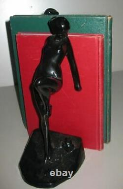 Frankart nymph with frog bookends art deco in black 10 tall metal a pair USA