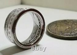 GENUINE U. S. MORGAN DOLLAR Silver Coin Ring 90% Silver Handmade Sizes 7.5 14