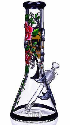 GRIM REAPER 13 SKULL Glass Water Pipe THICK Beaker BONG Hookah UNIQUE USA