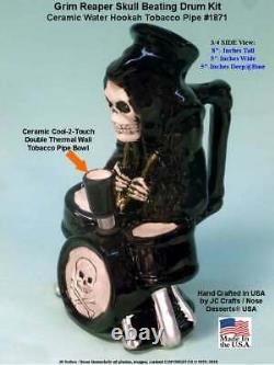 Grim Reaper Skull on Drum Kit Ceramic Bong Water Hookah Tobacco Pipe 1871 USA