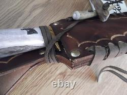 Hand Made Crown Stag Handle Bowie Knife 11 1/2 Overall Made In U. S. Aby Ken Rich