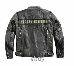 Harley Davidson Black Motorcycle Men's Passing Link Cowhide Leather Jacket USA