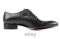 Ivan Troy George Black Crocodile Handmade Men Italian Leather Dress ShoesOxford