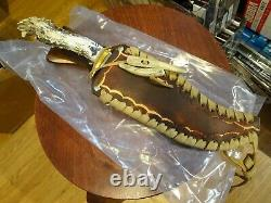 Ken Richardson Hand Made In USA Stag/elk Bowie Knife 13 1/2 -14 O. A. Krk-1410