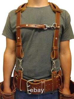 LEATHER WORK SUSPENDERS Amish Construction Belt & Back Support USA HANDMADE