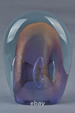 Labino Glass Dominick 1983 Blue/Pink Veil Rendezvous Art Glass Sculpture