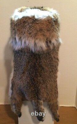 NEW BOB CAT MOUNTAIN MAN FUR HAT WITH FACE MADE IN USA. Fur/pelt/skin/hide