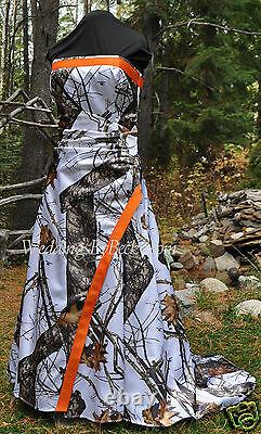 NEW Camo Wedding Gown, MOSSY OAK or Truetimber SATIN camo- MADE ONLY IN USA
