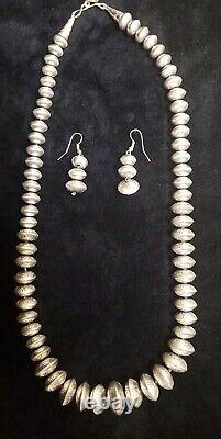 Native American Navajo Handmade Pearls Sterling Silver Necklace With Earrings