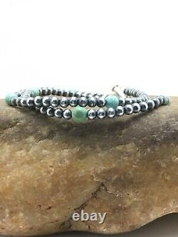 Native American Navajo Pearls Sterling Silver Blue Turquoise Bracelet Gift 378