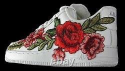 Nike Air Force 1 07 Low Men Red White Rose Flower Floral Custom Shoes Size 13