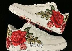 Nike Air Force 1 07 Low Red Rose Flower Floral White Custom Shoes All Size