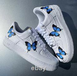 Nike Air Force 1 Low Blue Medium Butterfly Design White Custom Shoes All Size