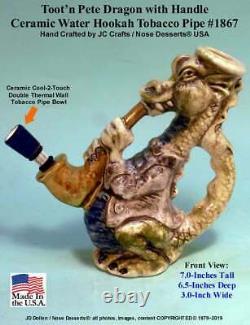 Pete Magic Saxophone Dragon Ceramic Rumph Water Hookah Tobacco Pipe, #1867 USA