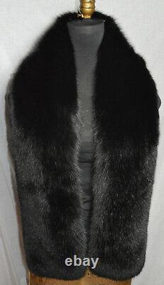 Real Black Fox Fur Scarf Boa Collar Wrap Stole Fling New Made in the USA