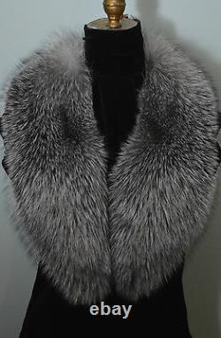 Real Fox Fur Collar Indigo Blue Frost Men Women Detachable New made in the usa