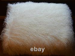 Real Natural White Mongolian Lamb Fur Stool Acrylic legs Tibet Bench Ottoman USA