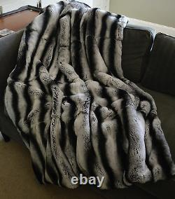 Real Rex Rabbit Fur Throw Dyed Grey Chinchilla Gray New made in usa Genuine