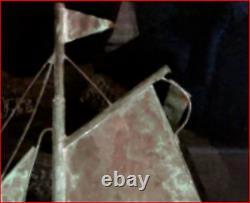 SAILBOAT COPPER WEATHERVANE TOP SAIL BOAT 21.5x21.5x3.75 VINTAGE HANDMADE DECOR
