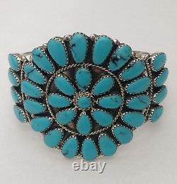 Sterling Silver Navajo Handmade Large Cluster Turquoise & Coral Cuff Bracelet
