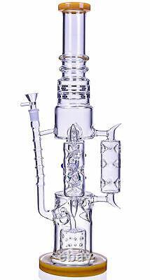 TALL 20 THICK Triple CHAMBER Bong HEAVY Glass Water Pipe BIG Hookah YELLOWUSA