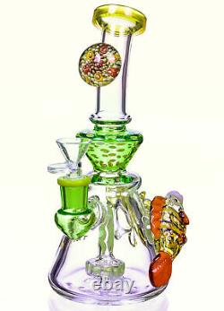 TATTOO GLASS 10 Showerhead BONG Water Pipe RECYCLER THICK Bubbler CUTE USA