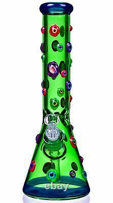 THICK 14 GLOW IN THE DARK Heavy BEAKER Bong Glass Water Pipe COOL Hookah USA