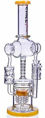 THICK 16 DOUBLE CHAMBER Multi Perc BONG Glass Water Pipe RECYCLER Hookah USA