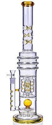 THICK 22 TALL Sprinkler BONG Amber HEAVY Glass Water Pipe COOL Hookah USA
