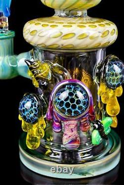 THICK Tattoo Glass 10 Showerhead Bee's World BONG Glass Water Pipe COOL USA