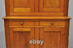 Tall Antique19th Century Pine Wood Blind Doors Step Back Cupboard Hutch Cabinet